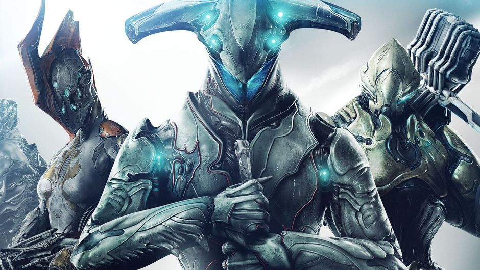Three warframes posing for a picture in a bright light.