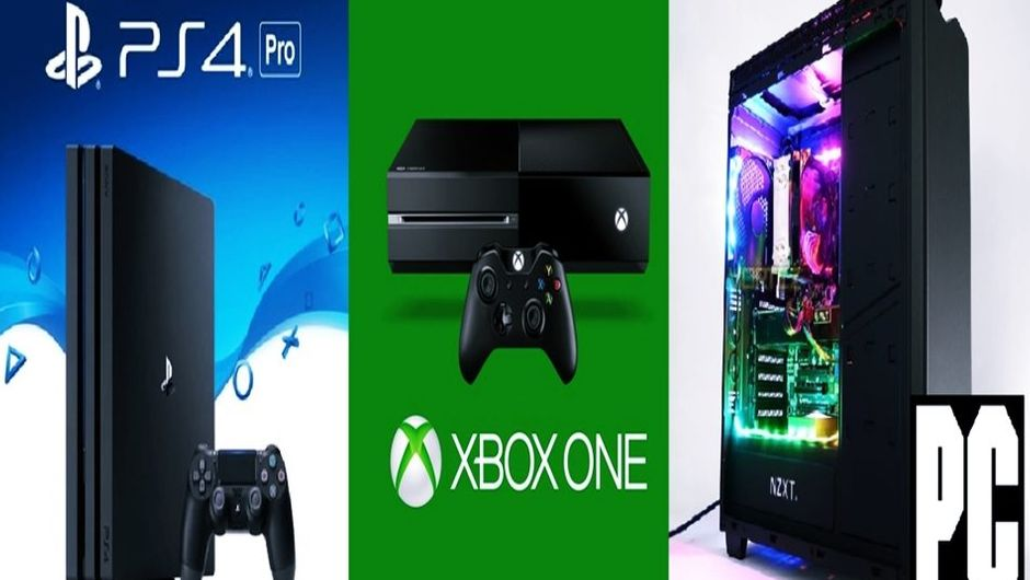PlayStatoin 4, Xbox One and PC stacked next to each other.