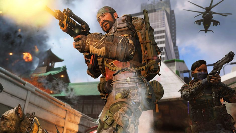 Man wearing a bandana standing next to a woman, both firing their guns in Call of Duty: Black Ops 4.