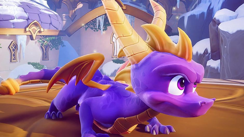 Purple animated dragon getting ready for races