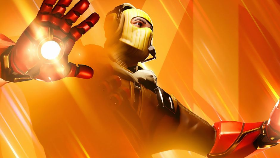 fortnite artwork showing a character with iron man's gloves