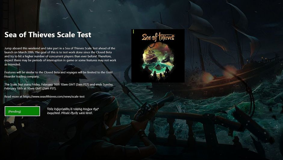 Sea of Theves pending endless loop for Insider programme open beta sign up issue