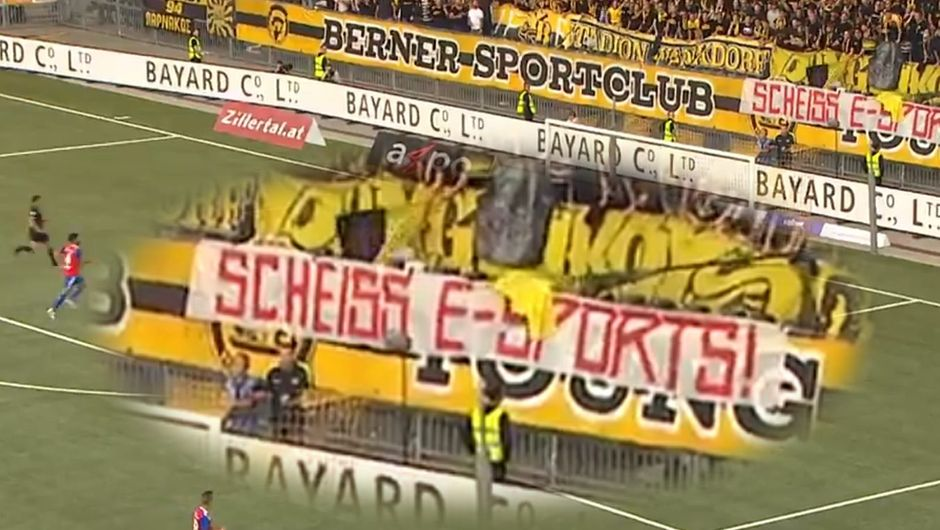 Picture of Young Boys supporters protesting against esports