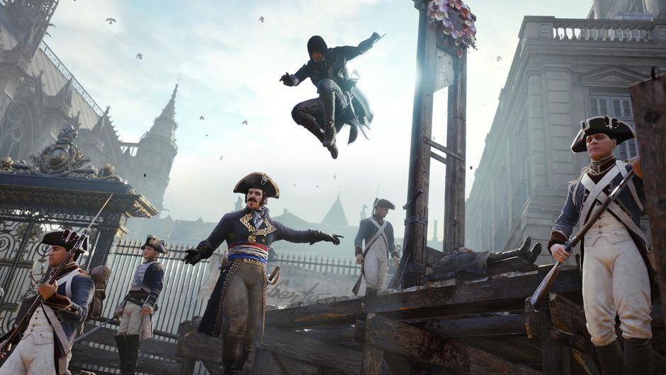 Assassin's Creed: Unity protagonist jumping on a French soldier