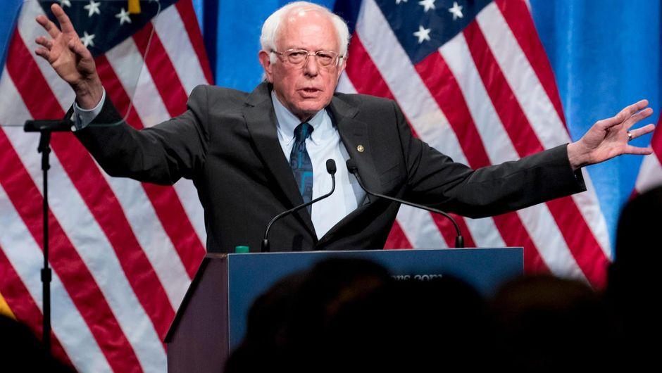 U.S. Senator Bernie Sanders delivering a speech