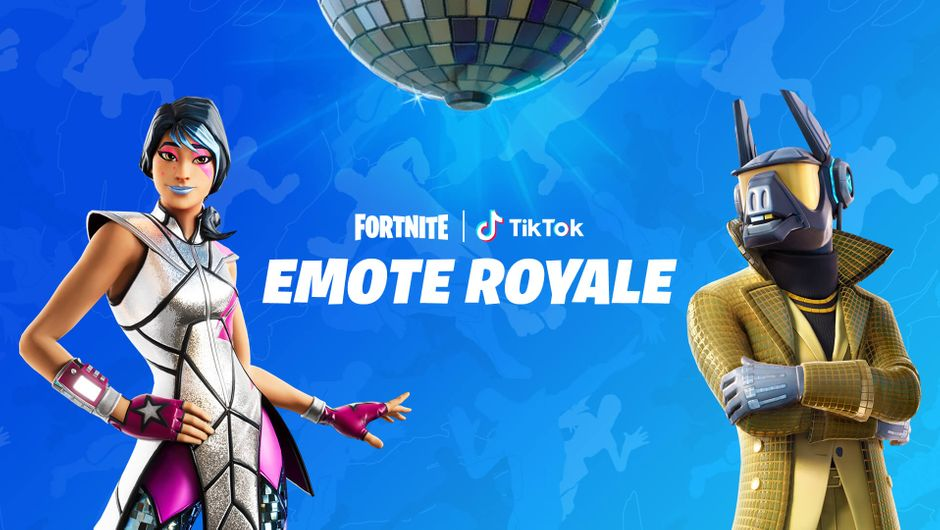 Fortnite Emote Royale poster with two in-game characters