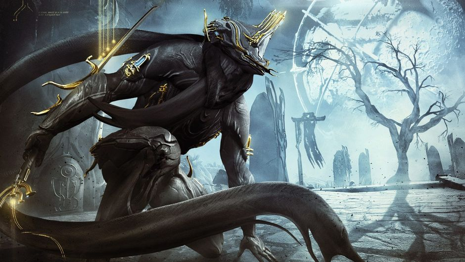 Tenno in a warframe is looking at some weird looking landscape