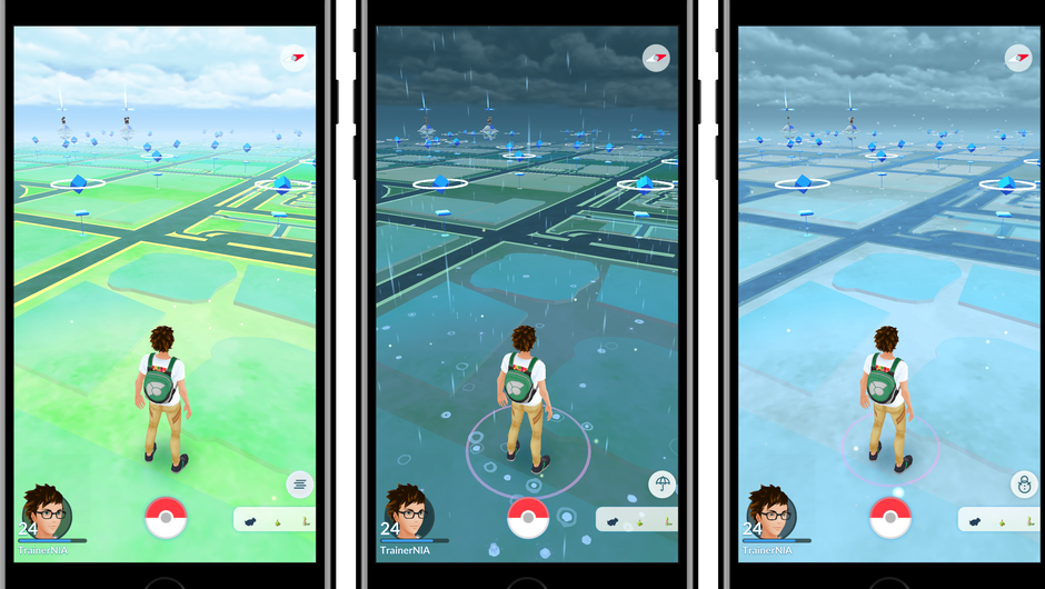Three different weather conditions in Pokemon GO