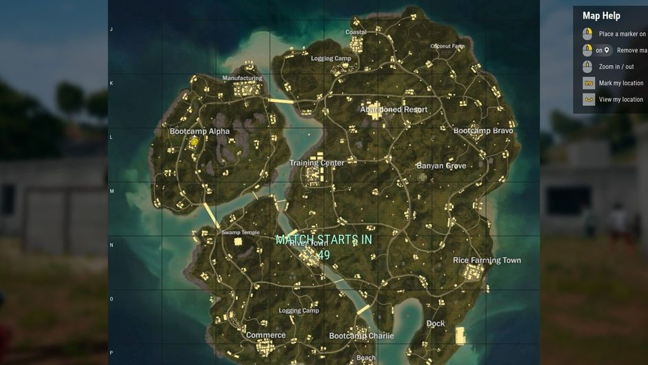 A map of Savage in PUBG