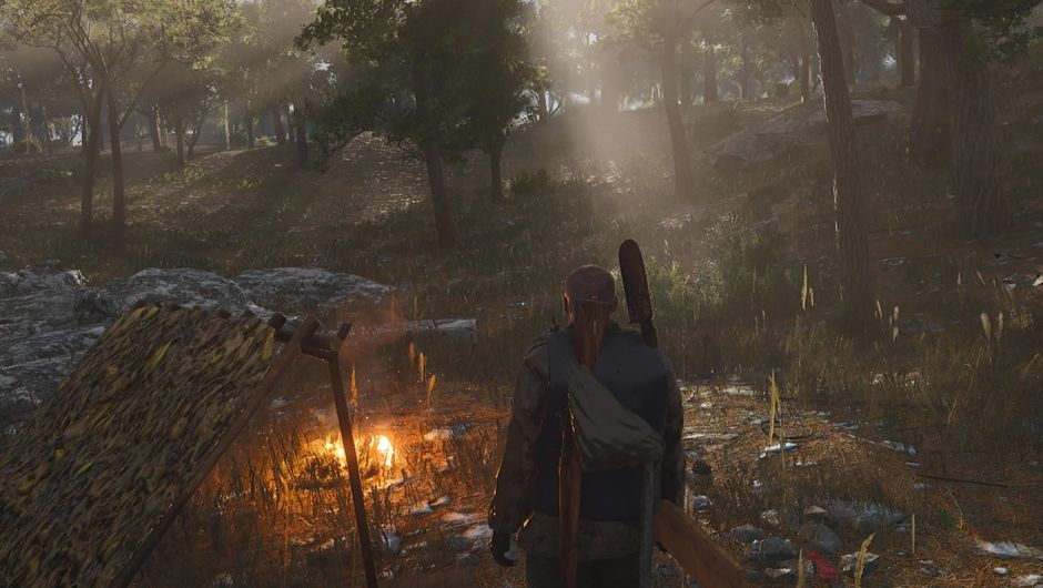 A character from the game SCUM standing next to a fire in a forest
