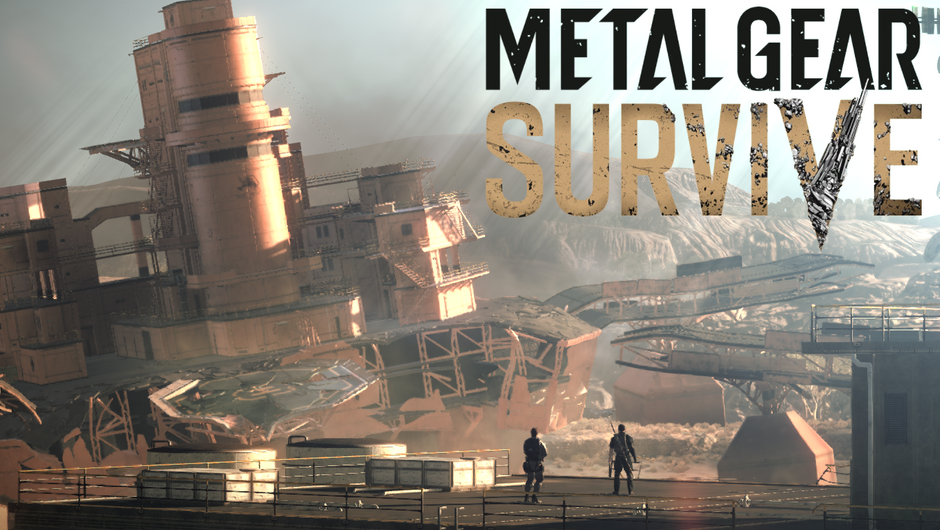 Beginning screen of Metal Gear Survive showing your protagonist and his newfound ally looking at the wrecked Mother Base.