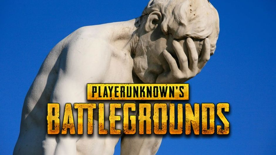 A statue of a man holding his face with a PUBG logo in front