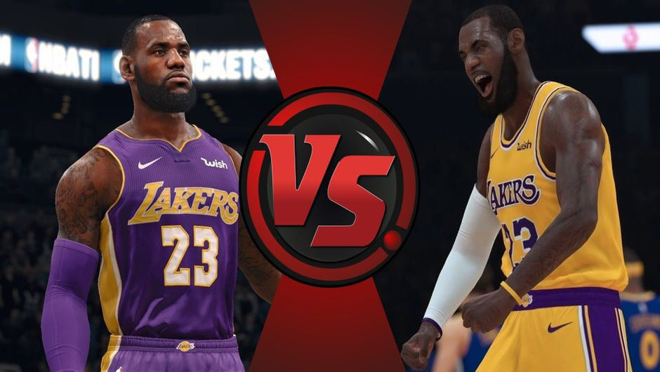 LeBron James wearing his new LA Lakers jersey in NBA Live 19 and NBA 2K19.