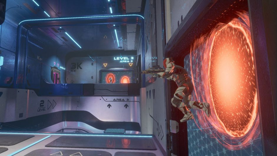 Picture of players jumping through portals in Splitgate