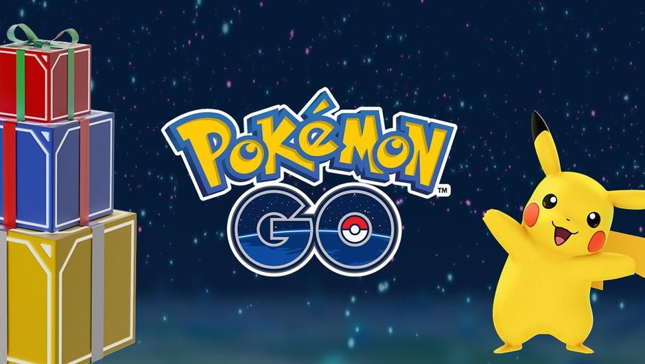 Pokemon GO logo surrounded by wrapped Christmas presents and Pikachu