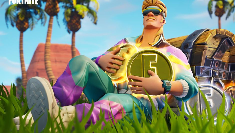 Fortnite character clad in 80s clothes holding a golden coin