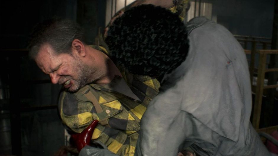 Picture of Kendo from Resident Evil 2 getting eaten by a zombie