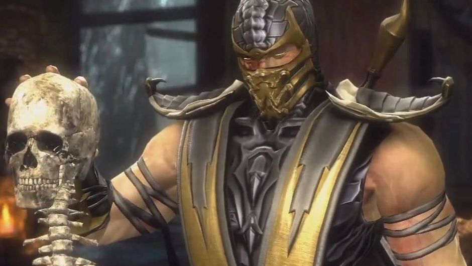 Scorpion is holding Sub-Zero's skull and spine after performing a fatality