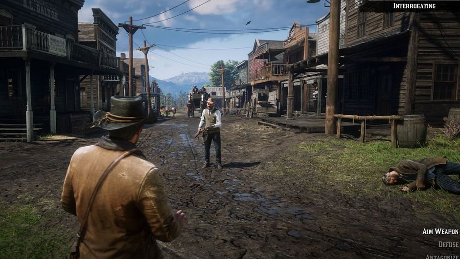 RDR2 screenshot of sherif yelling at player character for being at the wrong place in the wrong time