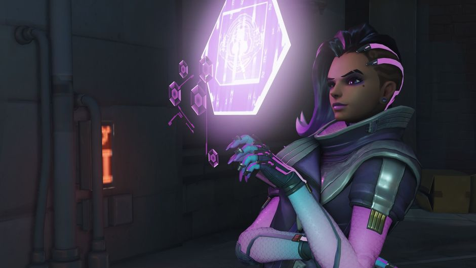 Sombra looking at one of her holo displays