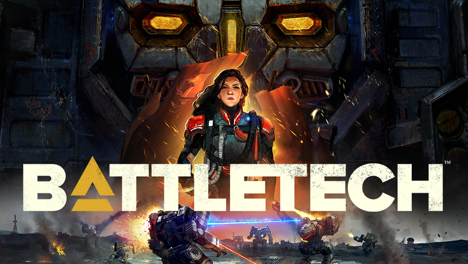 Promotional image for BattleTech showing an Atlas mech.