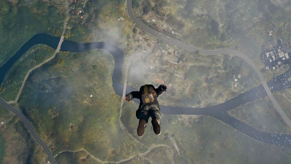 PUBG character parachuting into the map