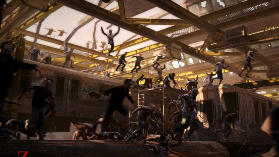 Zombies running through a train station in World War Z