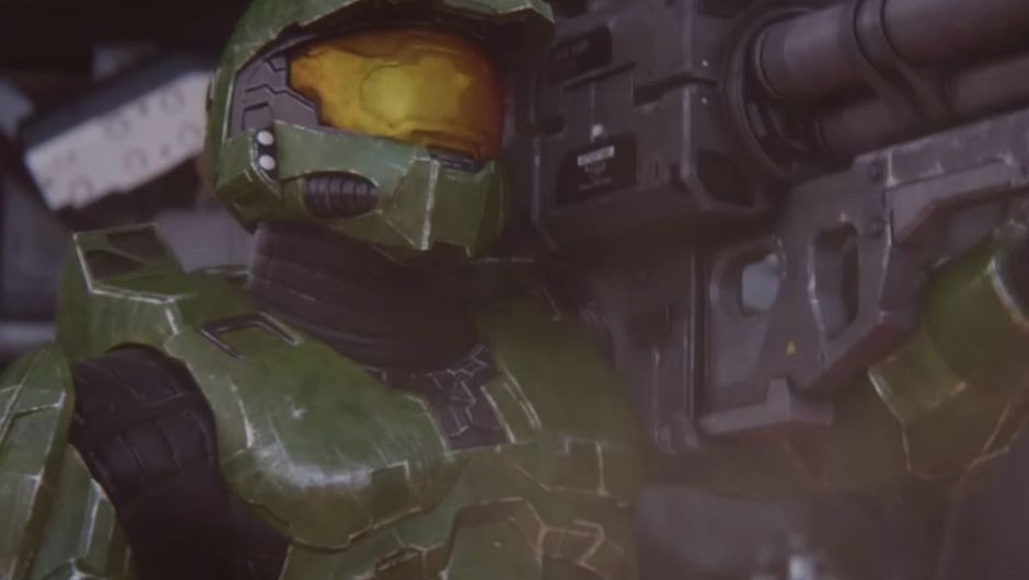 image of halo protagonist master chief holding a bazooka with tears in his eyes