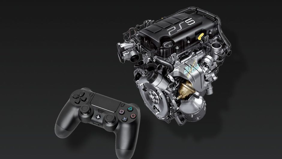 A car engine mockingly presented as a PlayStation console