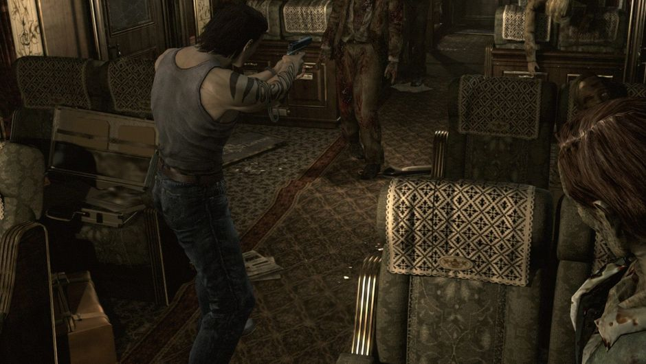 Picture of Billy Coen shooting zombies in Resident Evil 0