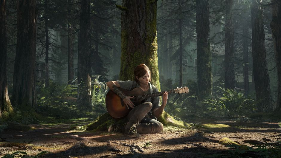 The Last of Us 2 protagonist playing a guitar