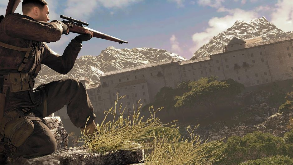 Sniper Elite 4 character aiming a sniper rifle