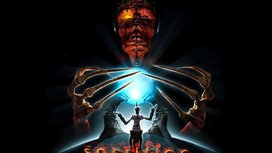 sacrifice promo image showing god of death grasping a soul in front of his champion