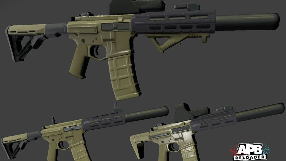 Pictures of several variations of the Raptor weapon from APB: Reloaded