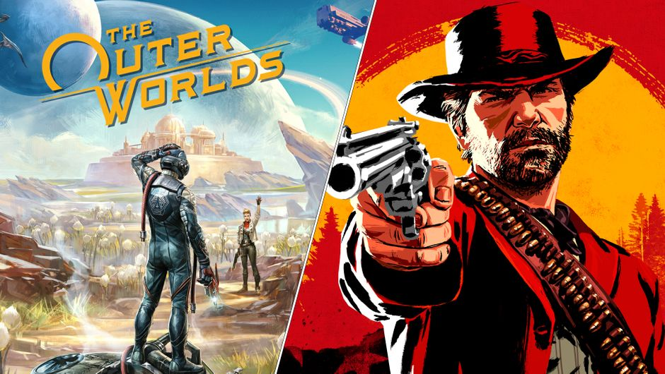 Key art for The Outer Worlds and Red Dead Redemption 2