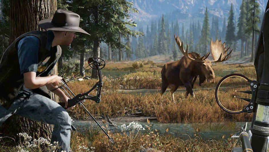 Men hunting a moose