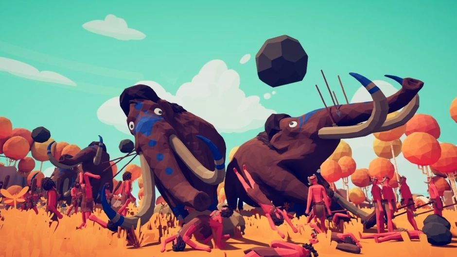 Totally Accurate Battle Simulator screenshot of mammoths rampaging through unsuspecting ragdol dudes