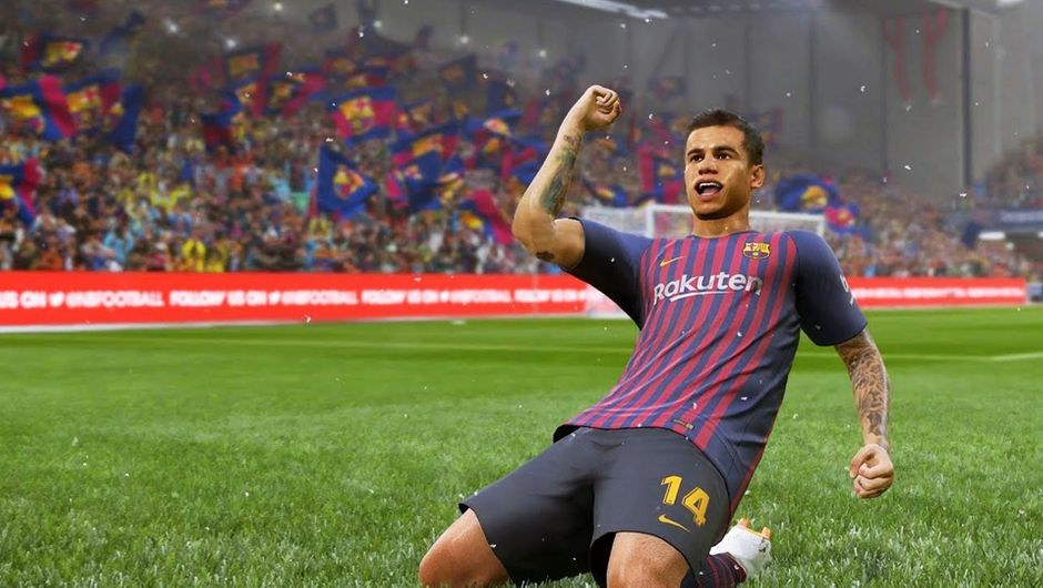 Coutinho celebrating a goal in PES 2019.