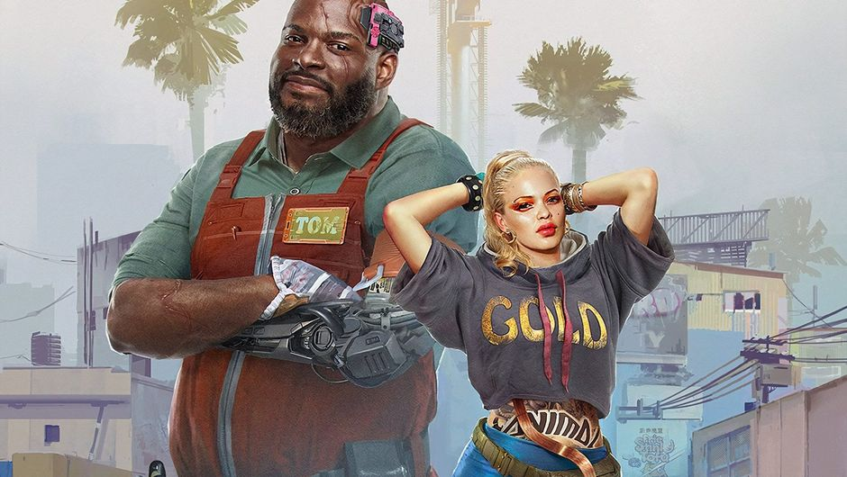 cyberpunk 2077 artwork showing a black man and blonde female