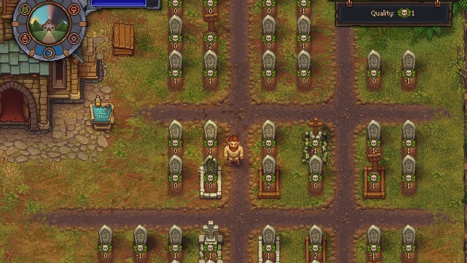 Pixelated graveyard from the game Graveyard Keeper