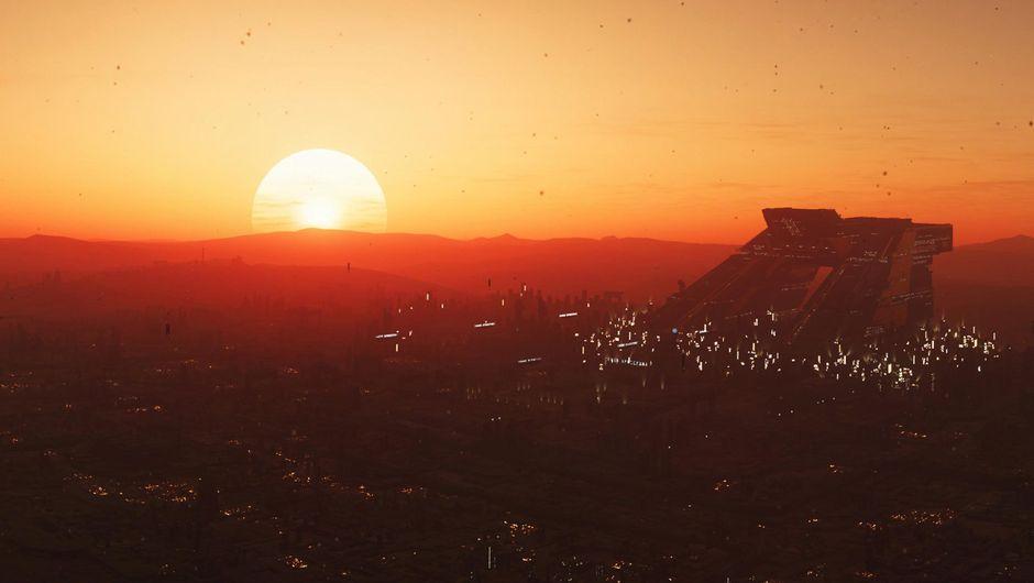 Star Citizen - sunset over Lorville