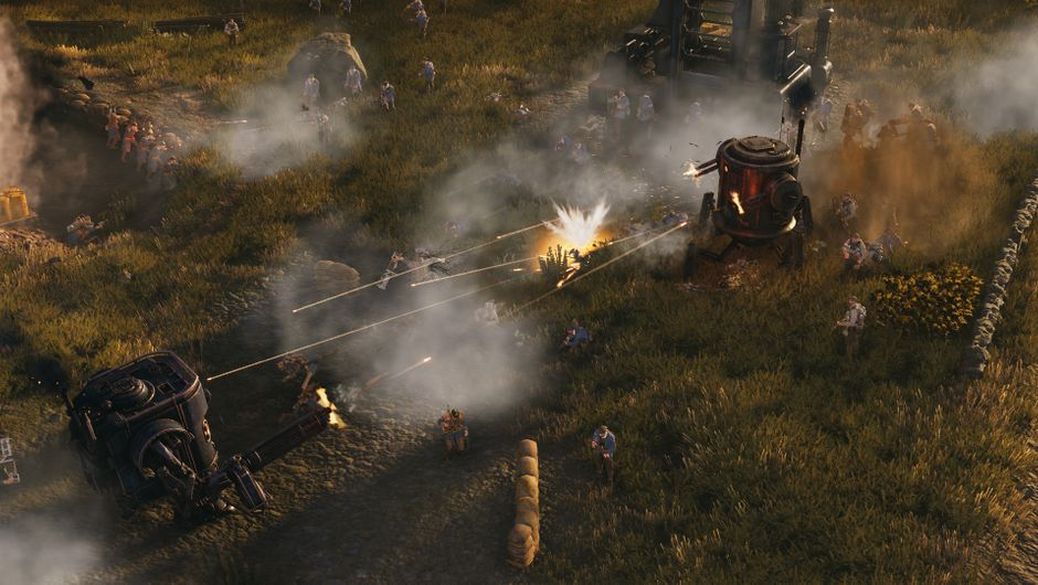 Iron Harvest screenchot of mechs fighting with infantry collateral