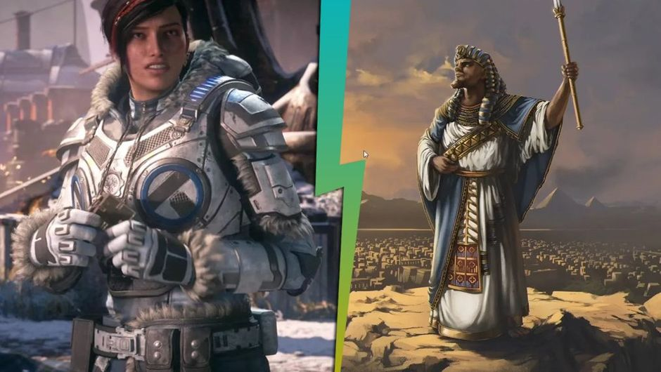 artwork showing characters from gears 5 and aoe