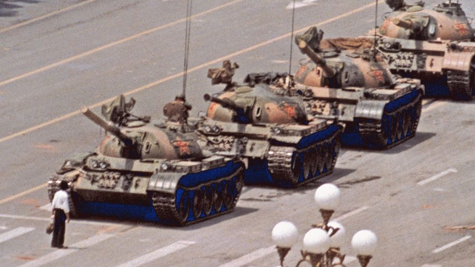 Historical photograph of the man stopping tanks on Tiananmen Square