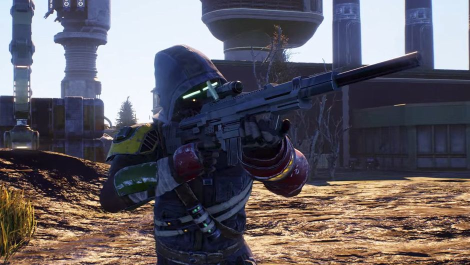 Picture of some dude in The Outer Worlds aiming his rifle