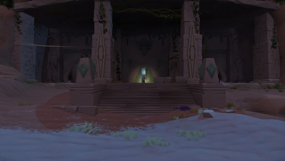 Entrance into a dark and cryptic looking temple in Worlds Adrift