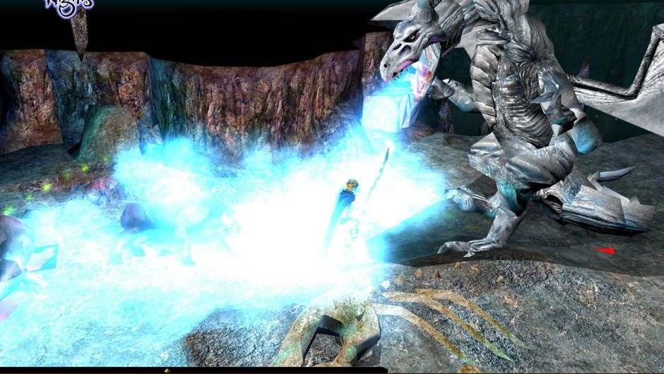 A white dragon is breathing what seems to be bluish-white freezing breath.