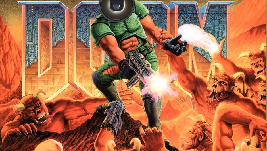 Picture of the DOOM guy with a roomba for a head