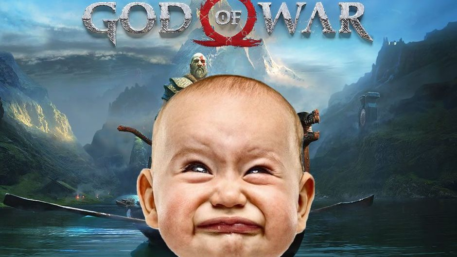 Picture of a baby crying in front of God of War poster