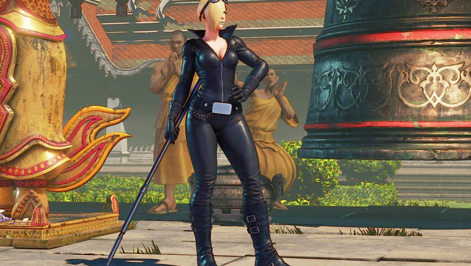 Falke looks like a bdsm mistress in her black costume for Street Fighter V.